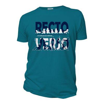 Tee shirt manches courtes et bio bleu Recto verso