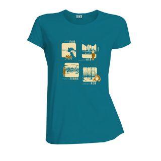 Tee-shirt femme bleu coton bio et équitable 4 éléments