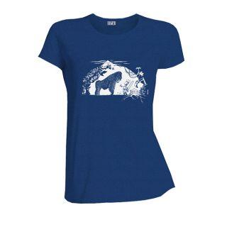 Tee-shirt bleu coton bio Gare au gorille