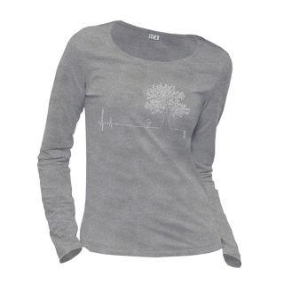 Tee-shirt gris manches longues coton bio et équitable Ligne de vie