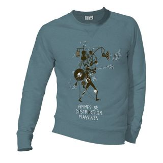 Sweat homme bleu coton biologique Armes de distraction massive
