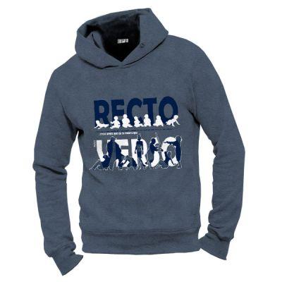 Sweat capuche homme bleu coton biologique Recto verso