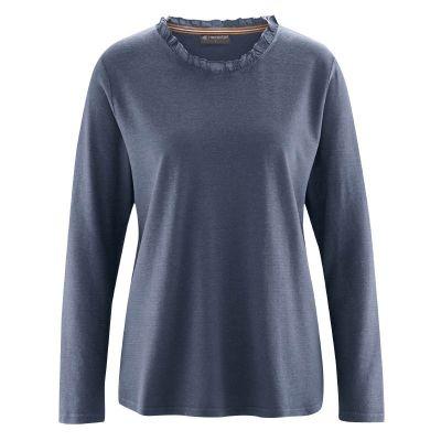 Tee shirt encolure ronde col dentelle chanvre coton bio bleu gris