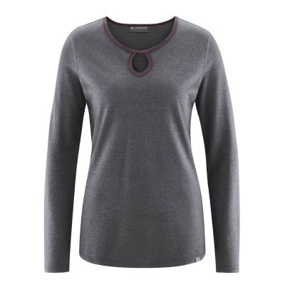 Tee shirt encolure ronde col fantaisie goutte d'eau chanvre coton bio anthracite