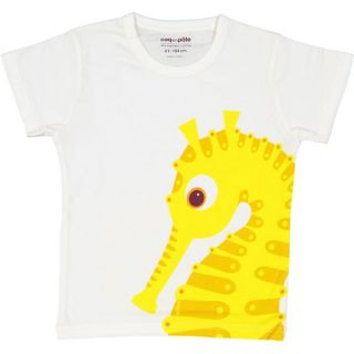 T-shirt coton bio blanc Hippocampe