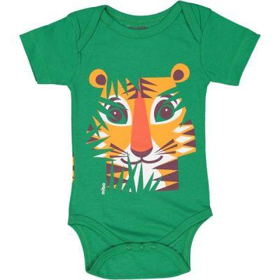 Body manches courtes coton bio vert Tigre