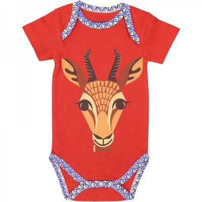 Body manches courtes coton bio rouge gazelle