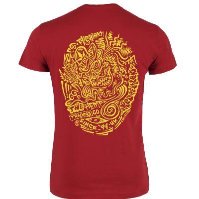 Tee shirt rouge chanvre et coton bio imprimé jaune psychédélique