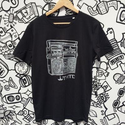 """Tee shirt chanvre et coton bio Noir Musique ATTENTION l'imprimé du tee shirt est en fait couleur """"or""""n"""