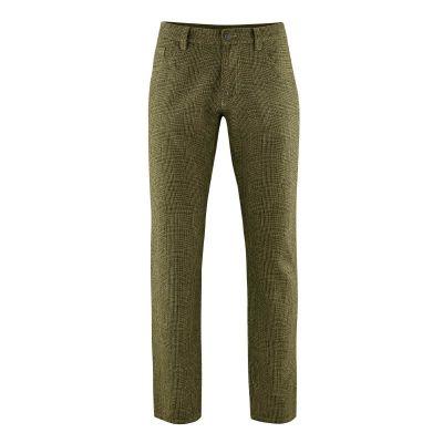 Pantalon à carreaux chanvre et coton bio vert tourbe