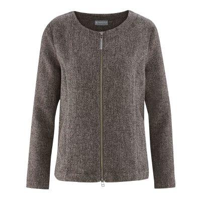 Veste à carreaux chanvre et coton bio mélange gris