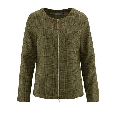 Veste à carreaux chanvre et coton bio vert toube