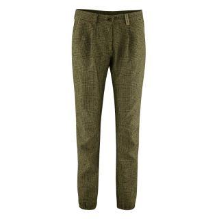 Pantalon femme mode bio couleur vert tourbe