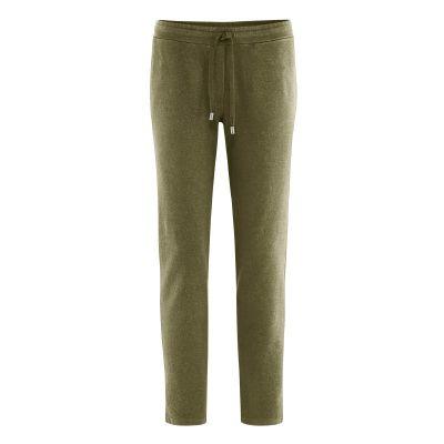 Pantalon de sport femme mode bio en coton bio et chanvre vert tourbe