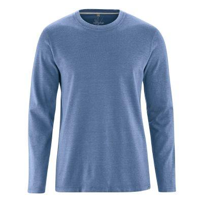 T-shirt écologique manches longues tissu épais chanvre et coton bio bleu