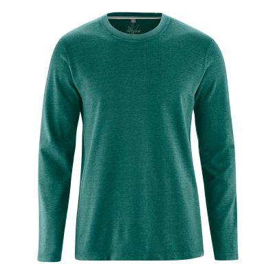 T-shirt écologique manches longues tissu épais chanvre et coton bio vert