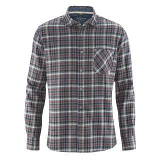 Chemise manches longues à carreaux coton bio chanvre bordeaux