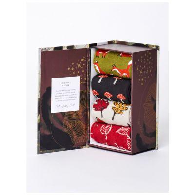Coffret 4 paires chaussettes coffret cadeau femme thème Forêt