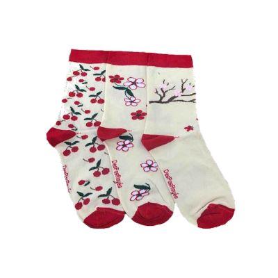 Chaussettes femme blanches Cerises rouges t fleurs