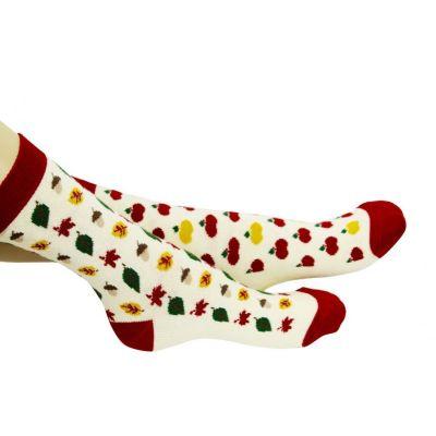 Chaussettes dépareillées Automne avec visuel pommes, feuilles et noisettes