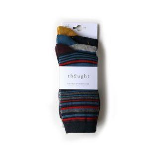 Lot 3 paires de chaussettes en bambou pour homme rayures et pois
