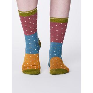 Chaussettes femme bambou bleues à pois