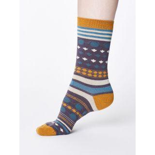 Chaussettes femme bambou grises imprimé géométrique