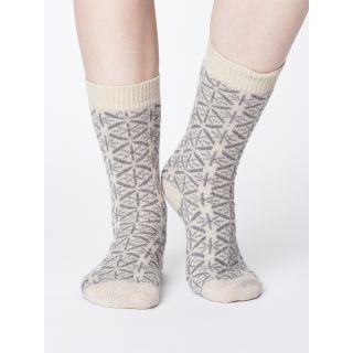 Chaussettes en laine et coton bio gris sable