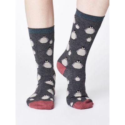 Chaussettes fantaisies grises et écologiques pour femme en bambou avec imprimé pingouin