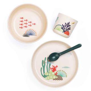 Set vaisselle en bambou beige thème mer