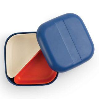 Boîte, Bento bleu 2 compartiments beige et orange