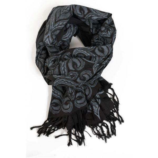 49a8f6a3489 Foulard boheme noir et gris - Sao-Bio