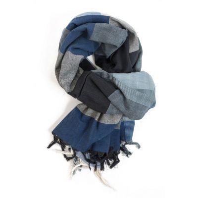 Foulard, cheche géométrique noire et bleue
