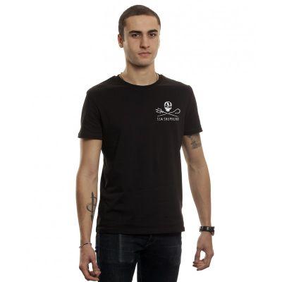Tee shirt noir homme en chanvre logo coeur Sea Shepherd