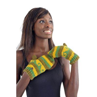 Gants mitaines multicolores dégradé vert et jaune