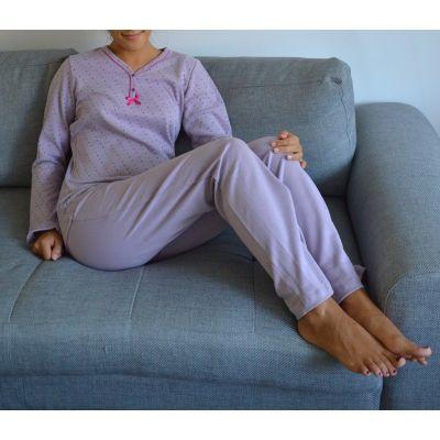 Pyjama mauve clair femme en coton biologique