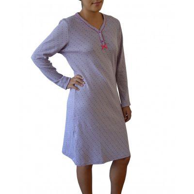 Chemise de nuit mauve clair femme en coton biologique