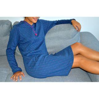 Chemise de nuit bleue en coton biologique