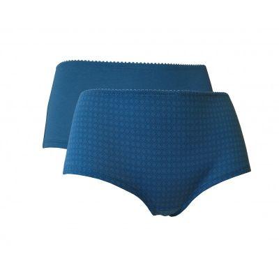Lot de 2 boxers femme coton bio 1 uni et 1 imprimé bleu