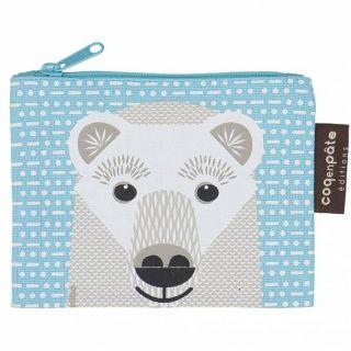 Porte monnaie Coq en Pâte bleu ciel coton bio imprimé ours polaire
