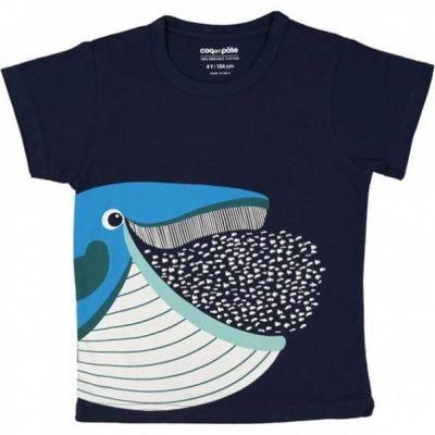 T-shirt coton bio bleu marine baleine et poissons