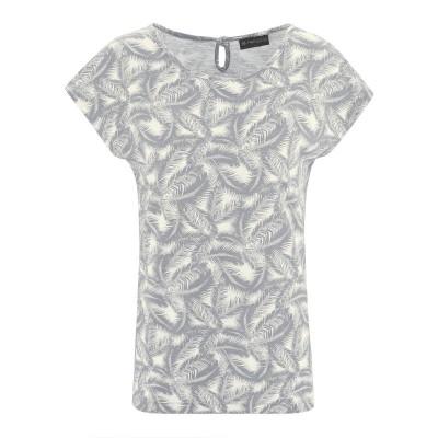 t-shirt chanvre coton bio imprimé feuilles de palmier gris