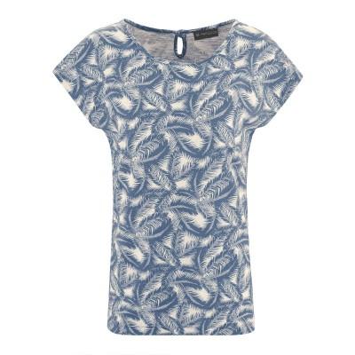t-shirt chanvre coton bio imprimé feuilles de palmier blue berry