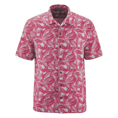 Chemise homme chanvre coton bio manches courtes imprimée feuilles de palmier sangria