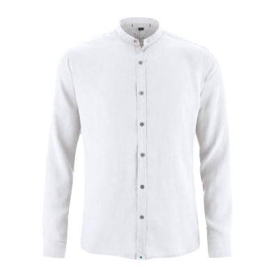 Chemise bio manches longues col mao blanche