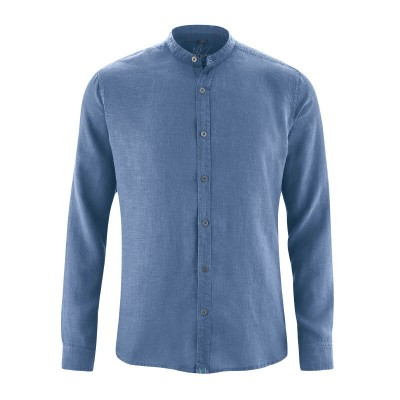 Chemise bio manches longues col mao blue berry
