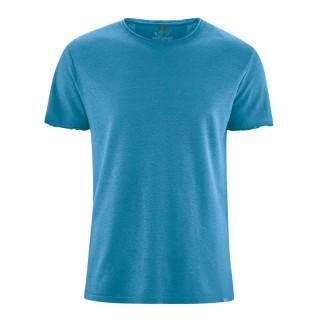 t-shirt manches courtes en fibres de chanvre et coton bio bleu atlantique