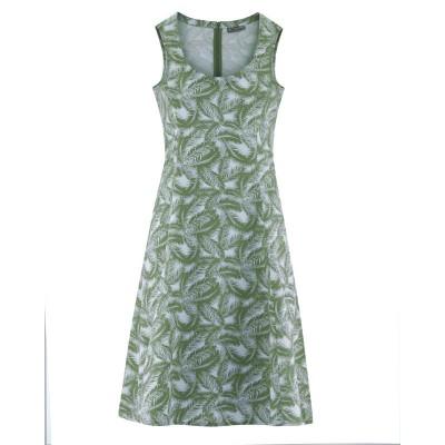Robe été imprimée feuilles de palmier sans manche en chanvre et coton bio verte