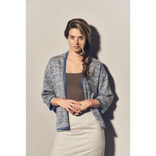 Gilet femme chiné en coton et chanvre bio