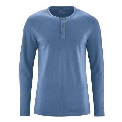 t-shirt manches longues col tunisien en fibres de chanvre et coton bio blue berry